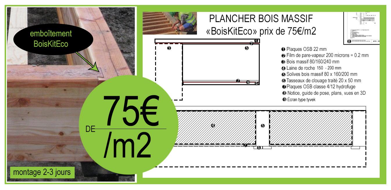 plancher bois massif BoisKitEco prix 75€
