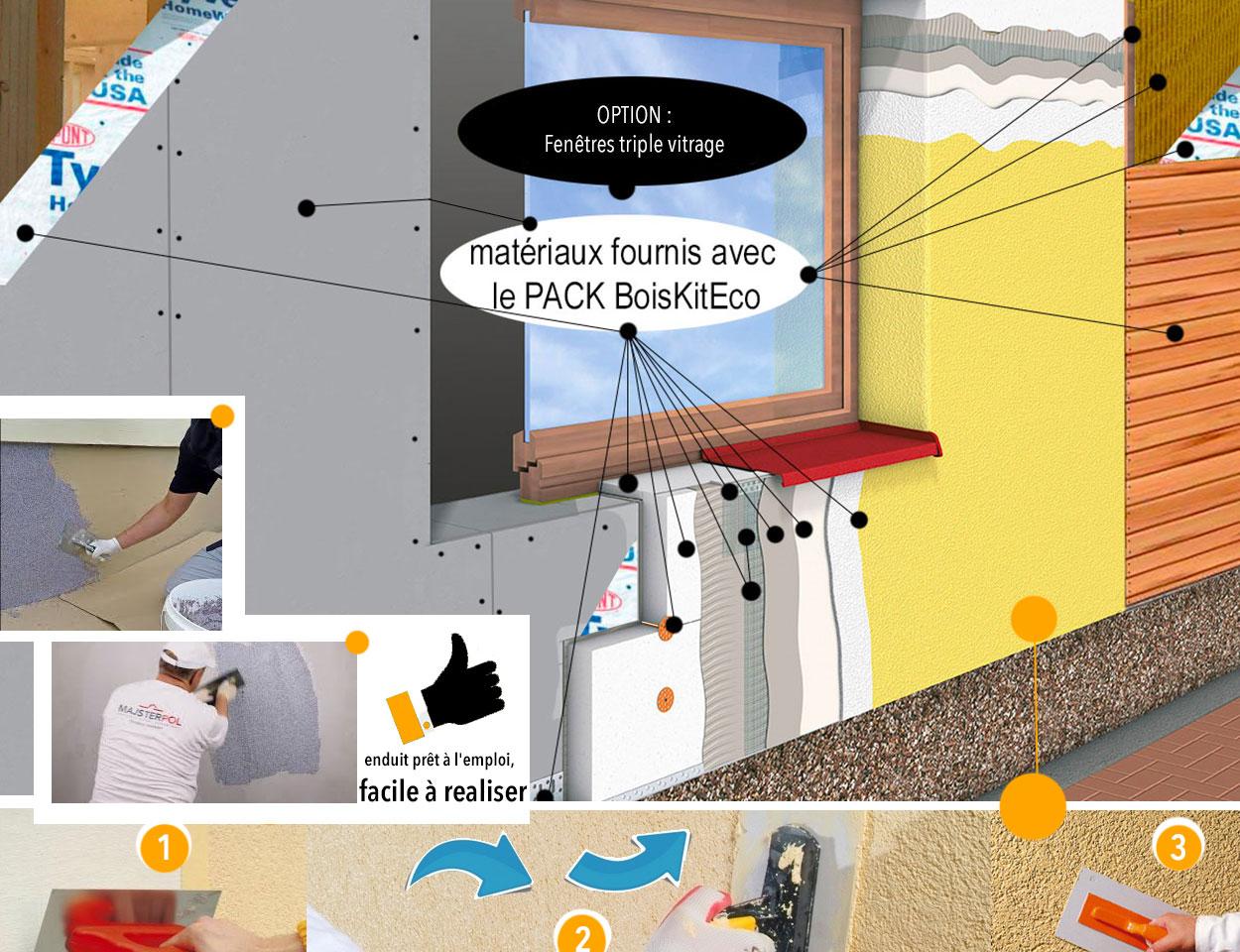 isolation par extérieur maisons BoisKitEco