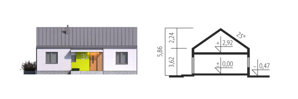 façade et coupe maison MINI 3 PLUS