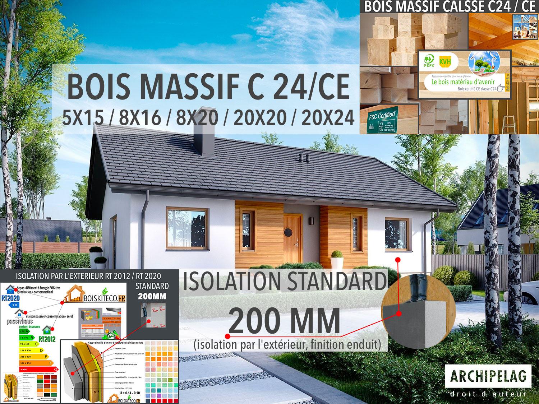 isolation par l'extérieur 20 cm en polystyrène graphite maison bois BoisKitEco.fr