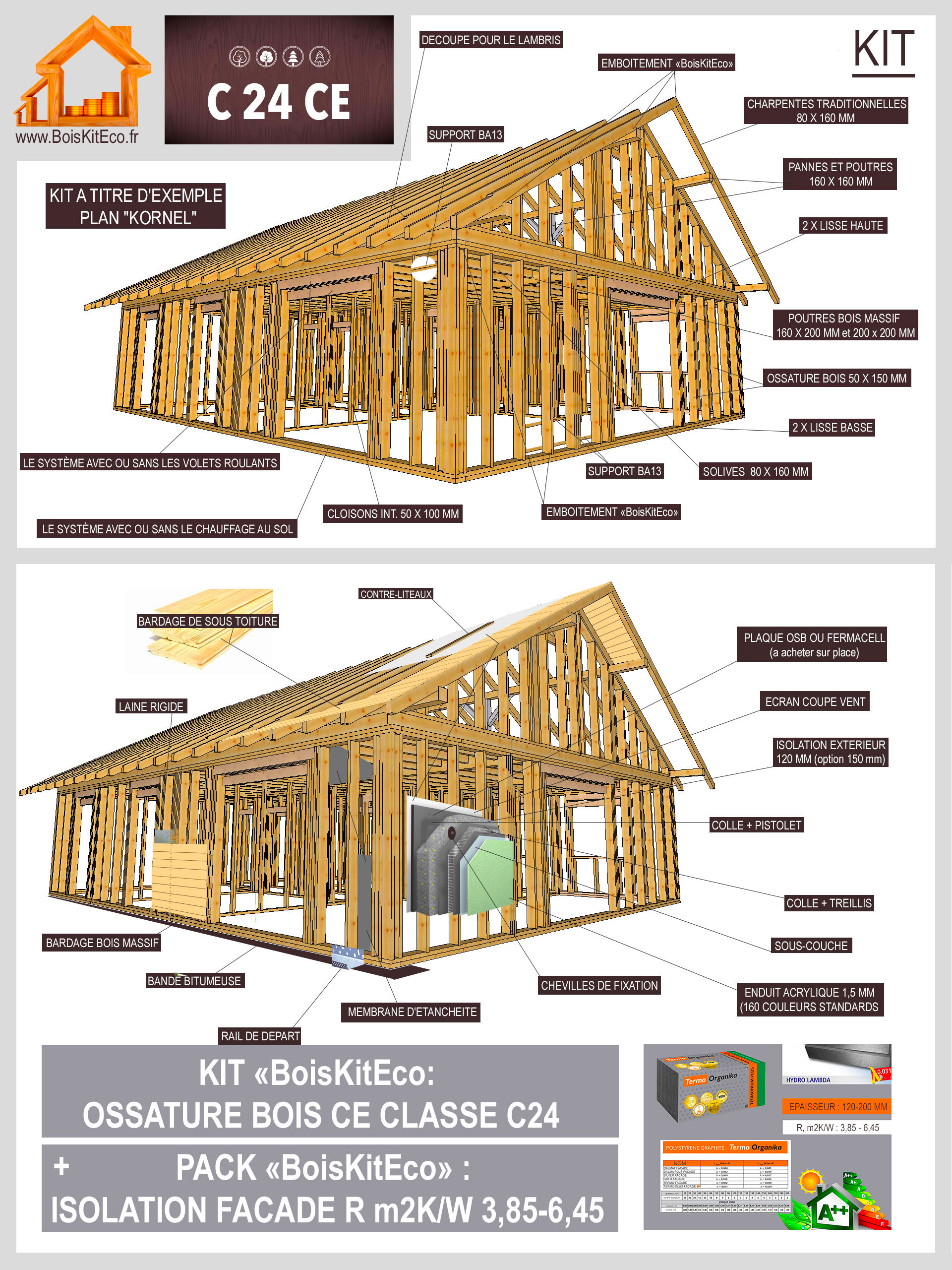 ossature bois en détails, réaliser la maison en bois