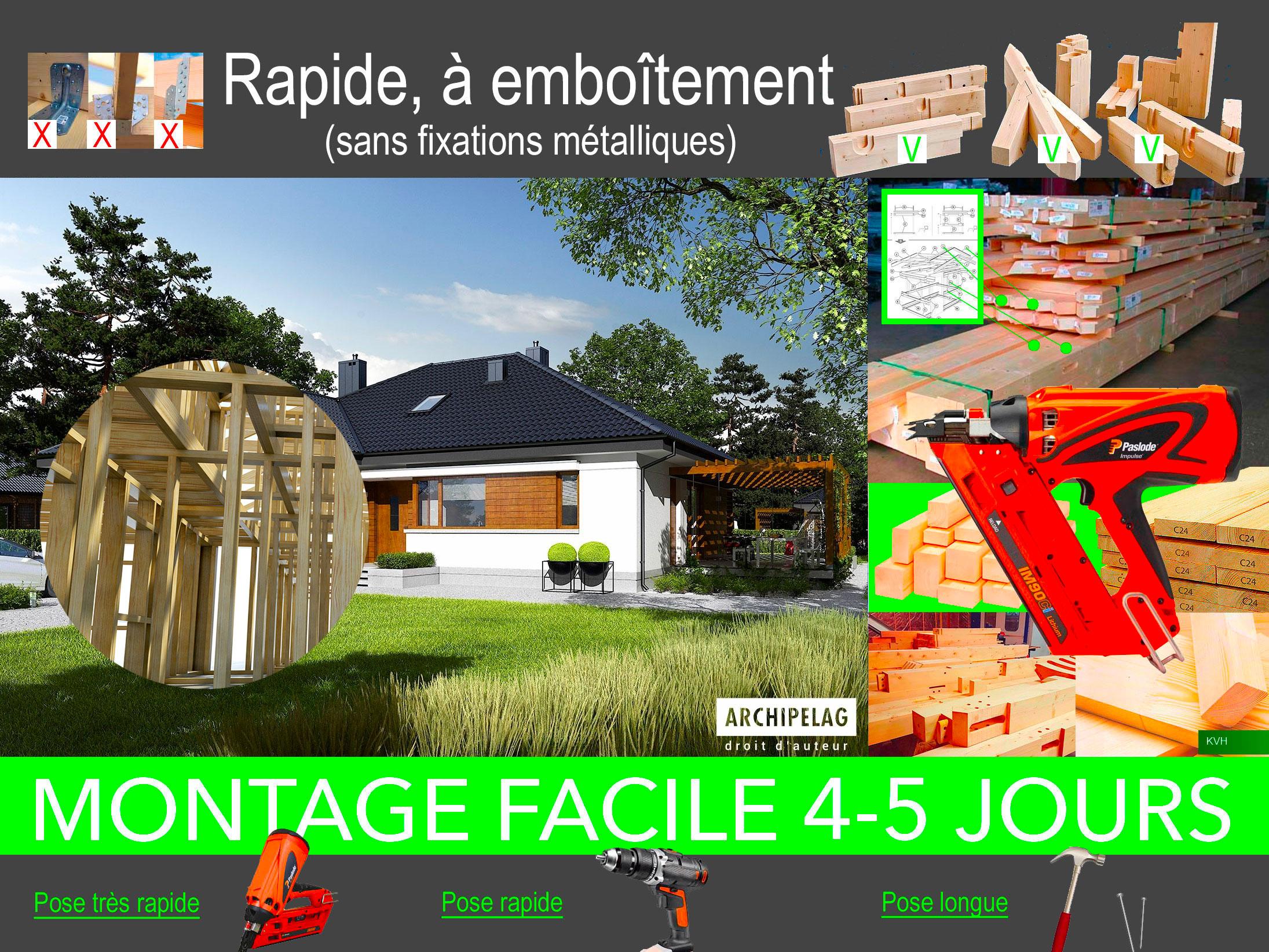 montage d'un maison BoisKitEco à ossature bois