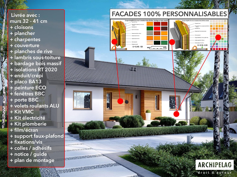 plan de maison KORNEL COMPOSITION DU KIT BoisKitEco