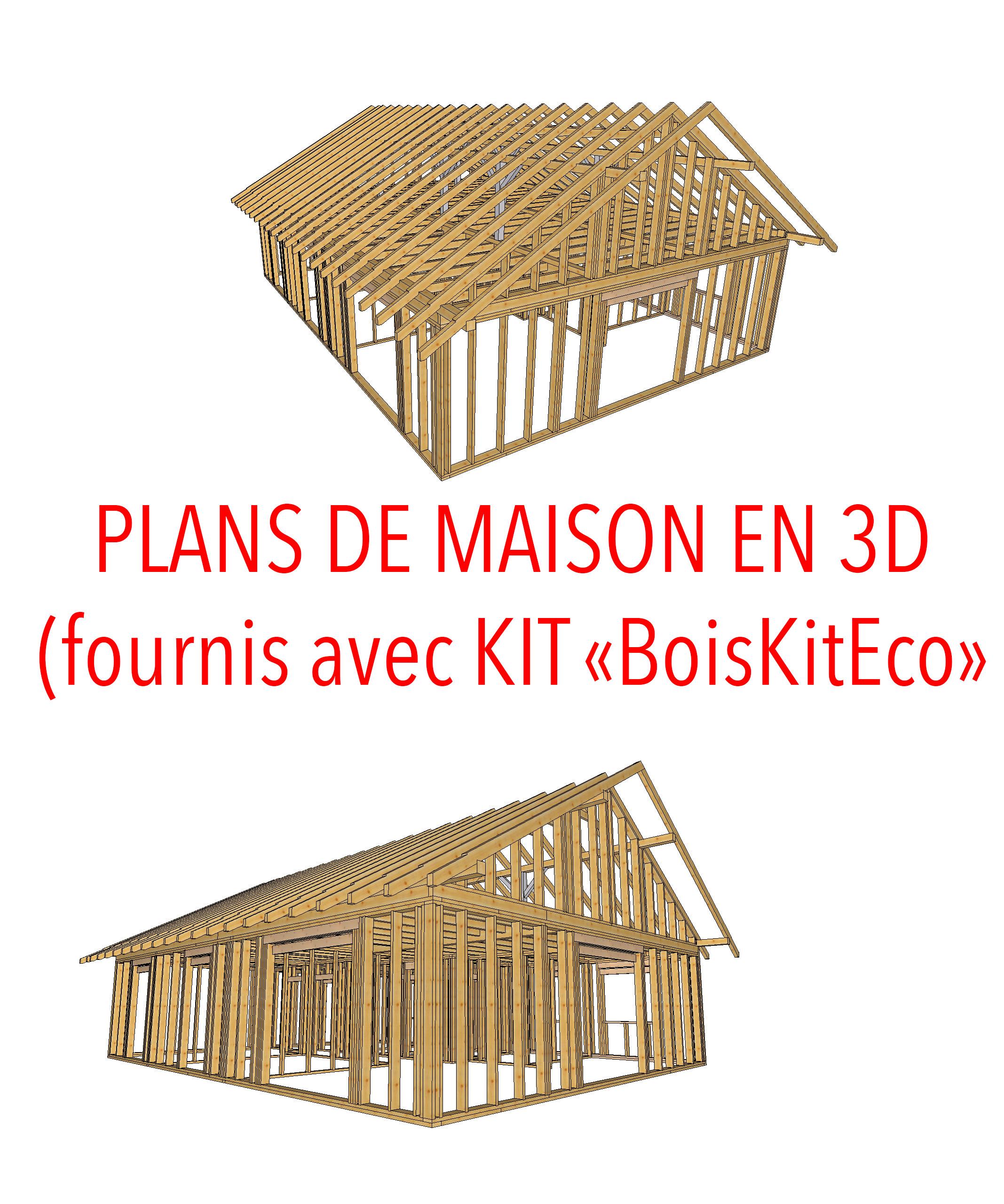 plan 3d maison bois