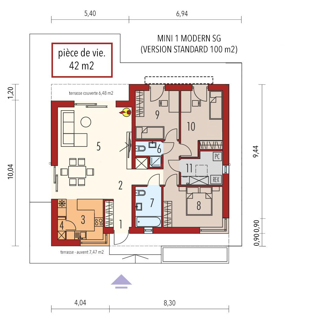plan maison en bois modern mini 1