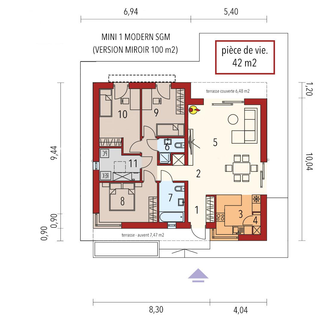 plan mason en bois modern toit plat